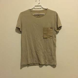 ZARA t-shirt with suede goat leather pocket size S