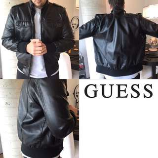 $55 Men's Guess Black Leather Jacket Size XL fits L