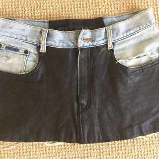 One teaspoon leather/denim skirt