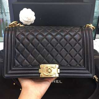 Chanel boy in old medium calfskin