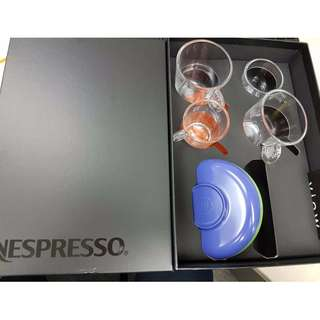 New Espresso collection (4  Glass Coffee Cups & 4 Color Plates)