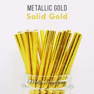 Party Straw Full Gold Foiled Tableware 25pc