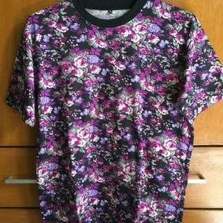 Preloved purple floral shirt (large)