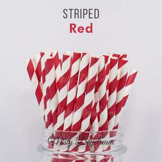 Party Straw Red Striped Tableware 25pc