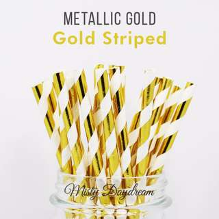 Party Straw Striped Gold Foiled Tableware 25pc