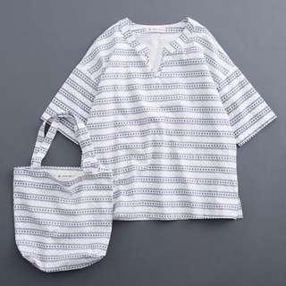 🚚 全新💝白色V領民俗風上衣(贈同款小提袋)