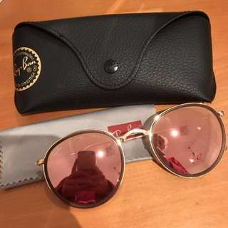 Ray ban Round Folding Rose Gold Pink Flash Sunglasses