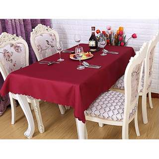 Party Tablecloth Burgundy Polyester Fabric Tableware