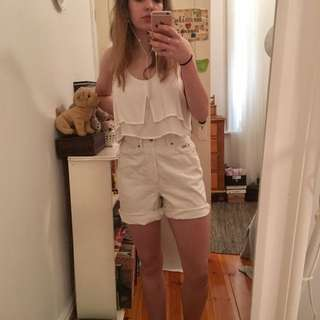 White Vintage Baggy Shorts