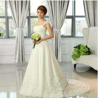 Summer White Korean Style Wedding Gown