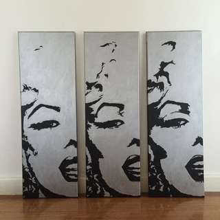 Set Of 3 Original hand painted Marilyn Munroe Artworks, Acrylic On Canvas