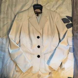 Danier White Leather Blazer