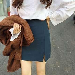 高腰顯瘦開叉A字裙包臀窄裙