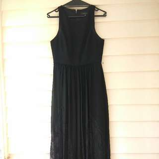 Forever New Black Lace Maxi Dress Size 10