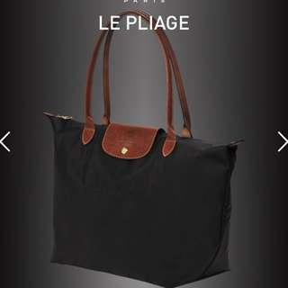 BLACK Longchamp LE PLIAGE tote bag L Long Handle