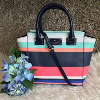 Kate Spade Small Camryn WKRU3856 Wellesley Printed Tropical Stripe Tote (5356-3)