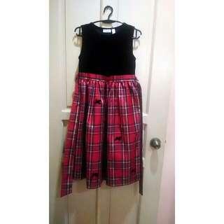 Black velvet and plaid girl's dress
