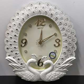 Double White Peacocks Wall Clock