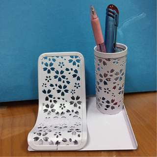 REPRICE Pen Cup and Phone Standing Tempat Pen Pensil Cantik Motif Bunga Warna Ungu Soft