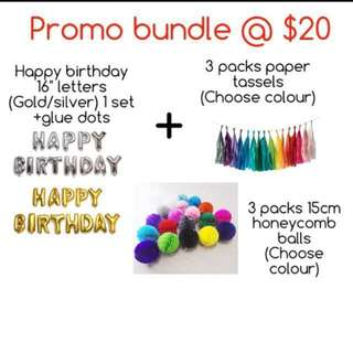 (13/9) Promotion Pack : Party Deco ( birthday /baby shower / full month )