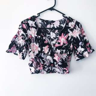 Top and shorts set, floral, size 8, Forever New