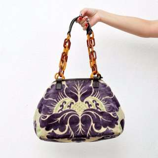 Miu Miu Embroidery Vintage Purple Shoulder Bag (5027-4)