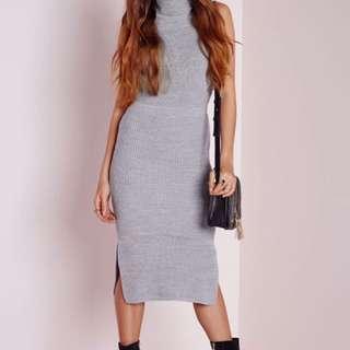 BNWT Missguided Grey Turtleneck Sweater Ribbed Knit Midi Dress S Small