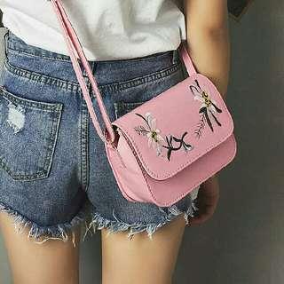 LAST PIECE SALE Floral Embroidered Pink Bag