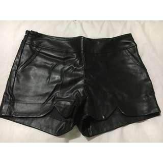 Black pleather shorts