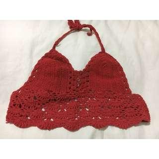 Red crochet crop top