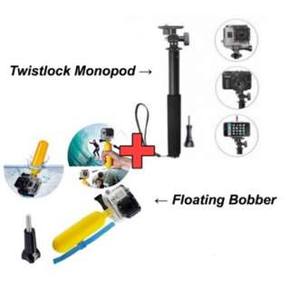Bobber Floating Hand Grip & Action Camera Twistlock Monopod