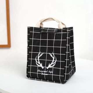 《預購》手提包拎飯盒包袋保溫帆布便當包大號碼學生午餐盒包防水包郵