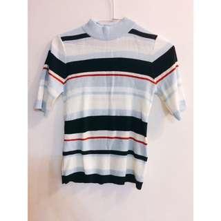 Spao 彩色條紋中高領針織短袖上衣