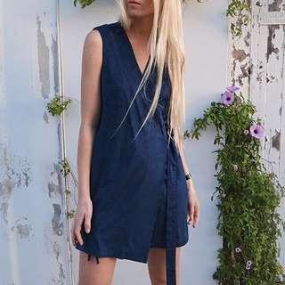 SALE Paint It Red Size 10 Navy Faux Suede Wrap Dress