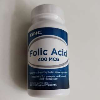 GNC Folic Acid 400 Mcg 100 Vegetarian Tablets. Brand New Sealed. Expiry 04 2019