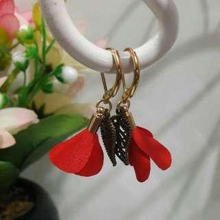 Boho Earrings Red Flower With Leaf
