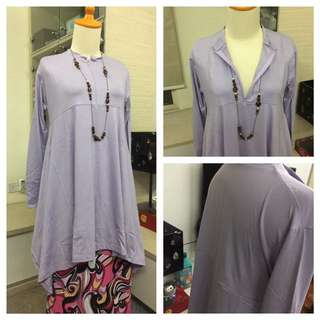 🌀New Soft Lavender Iris Blouse - Fits To 2XL