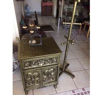 Antique gold gothic victorian cabinet narra and old wood nego. free shipping plus freebies