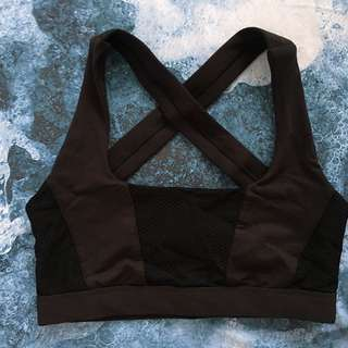 Strappy backed black sports bra - Activewear - Crop top (local brand)