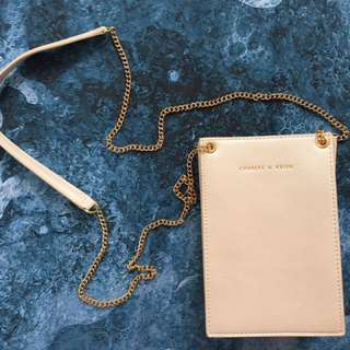 Charles & Keith mini bag for phone with card holders - Pearl with gold chain strap