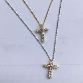 18K Yellow and White Gold Necklace with Diamond Studded Cross