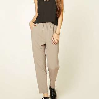 F21 Taupe Long Woven Pants S