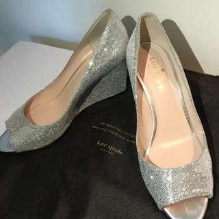 Kate Spade Wedges Silver Glitter Sz 7