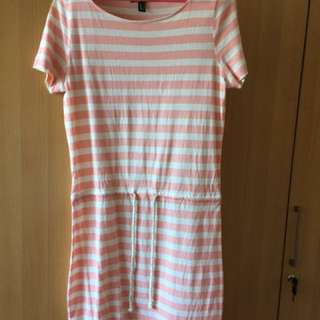 MANGO CASUAL PEACH WHITE STRIPES