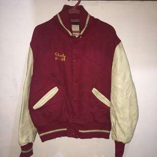 De long red/beige leather sleeves athletic/sports/jersey jacket fits large