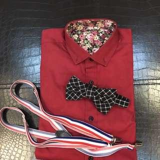 型男襯衫S號(附領結、吊帶)