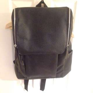 Black Faux Leather Backpack