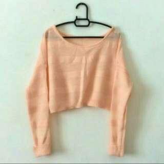 Pastel Orange Crop Knitted Sweater #Bajet20
