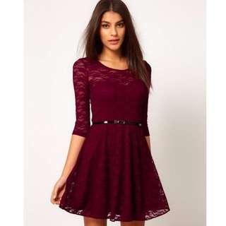 2017 New Designer Brand Women Dresses , Candy Color Elegant Lace Dress For Women, Plus Size Fashion Lady Spring Autumn Dresses