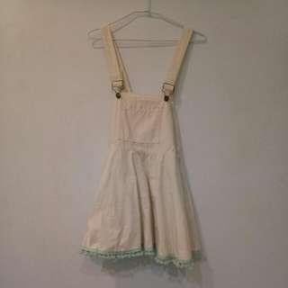 古著米白吊帶裙